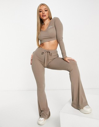 Sixth June high waisted ribbed flares in khaki co-ord