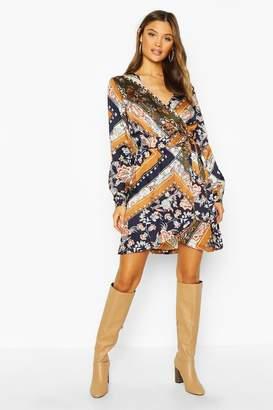 boohoo Woven Scarf Print Wrap Tie Shift Dress