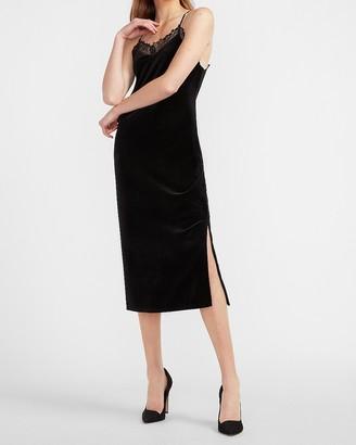 Express Velvet Lace Trim Slip Dress