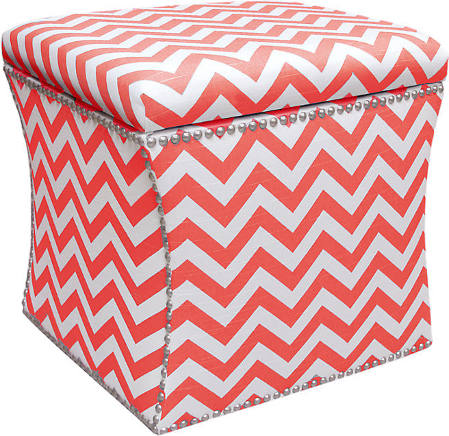 Rooms To Go Courtney View Coral/White Storage Ottoman