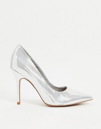 ASOS DESIGN Phoenix pointed high-heeled court shoes in silver