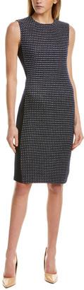 St. John Dotted Inlay Tweed Wool-Blend Sheath Dress