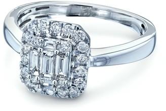 Annello by Kobelli 14k White Gold 1/2 Carat TDW Diamond Baguette Rectangular Cluster Halo Solid Band Engagement Ring