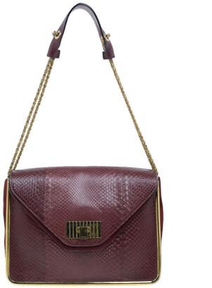 Chloé Burgundy Python Medium Sally Shoulder Bag