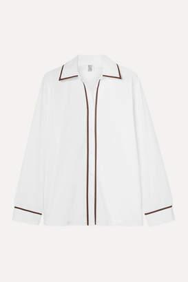 Rosie Assoulin Faux Leather-trimmed Cotton-blend Poplin Shirt - White