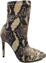 Bamboo Women's Casual boots SNAKE - Black & Tan Snake Print Hibiscus Knit-Shaft Boot - Women