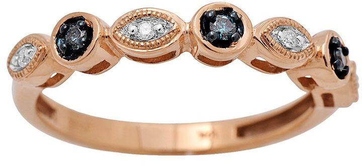 10k Rose Gold 1/10-ct. T.W. Blue & White Diamond Ring