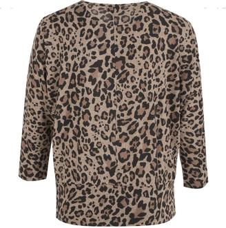 New Look Curves Leopard Print Fine Knit Batwing Jumper