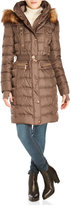 Vince Camuto Faux Fur Trim Belted Down Coat