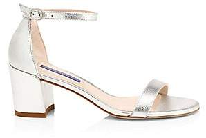 Stuart Weitzman Women's Simple Metallic Leather Sandals