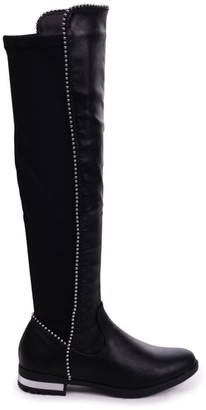 Linzi ZORA - Black Suede Long Boot With Studded Detailing & Lycra Back