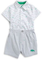 Little Me Two-Piece Happy Dino Shirt and Shorts Set