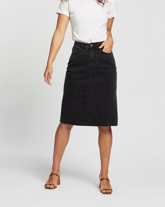 Atmos & Here Atmos&Here - Women's Black Denim skirts - Venice Split Side Skirt - Size 6 at The Iconic