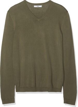Find. Men's Cotton V-Neck Sweater (Light Grey Marl) Medium
