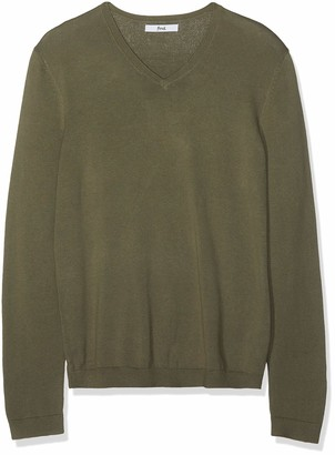 Find. Men's Cotton V-Neck Sweater (Light Grey Marl) Small