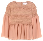 See by Chloe Smocked Cotton Blouse