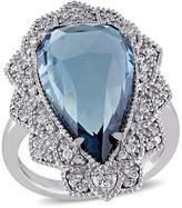 Ice 1/3 CT TDW Diamond and 7 2/5 CT TGW Blue Topaz 14K White Gold Ring