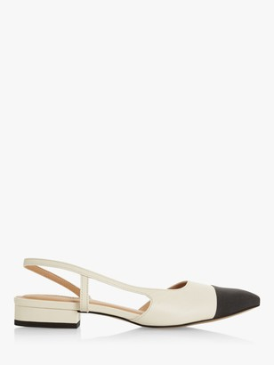 Dune Corallina Leather Pointed Block Heel Slingback Shoes