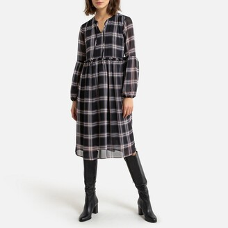 Jacqueline De Yong Checked Puff-Sleeve Dress