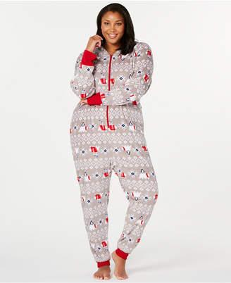 Matching Family Pajamas Plus Size Polar Bear Hooded Pajamas