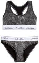 Calvin Klein Womens Metallic 2PC Bikini Panty Black M