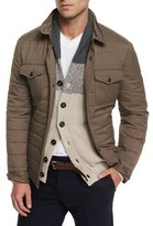 Brunello Cucinelli Milano Quilted Nylon Shirt Jacket, Brown
