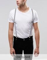 Reclaimed Vintage Stripe Suspenders White