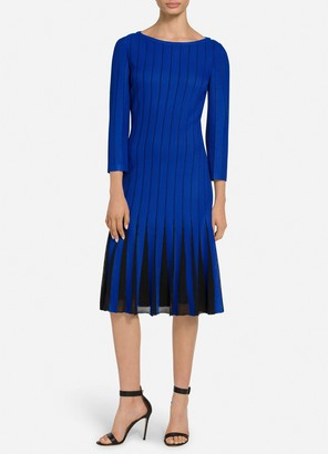 St. John Perforated Knit Bateau Neck Dress