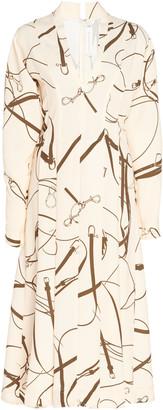 Victoria Beckham Printed Flared Crepe Midi Dress