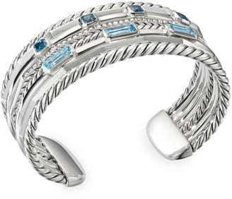 David Yurman Stax Wide Sterling Silver, Diamond & Two-Tone Blue Topaz Bracelet