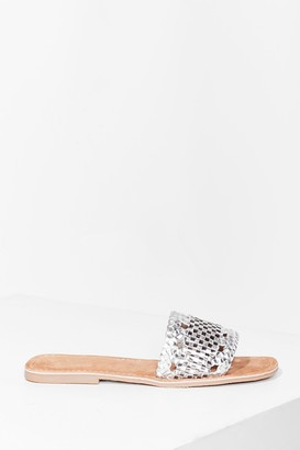 Nasty Gal Womens Woven You Long Time Metallic Flat Sandals - Silver