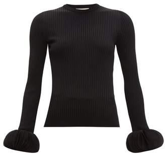 Valentino Chiffon-trimmed Ribbed-knit Sweater - Womens - Black