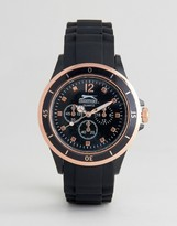 Slazenger Black Watch With Imitation Inner Dials