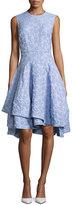 Co Sleeveless Seersucker Flared Dress, Blue