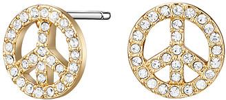 Swarovski Mestige Women's Earrings GOLD - Goldtone Peace Stud Earrings with Crystals