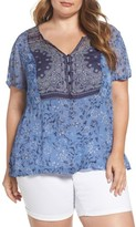 Lucky Brand Plus Size Women's Mixed Print Top