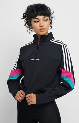adidas Black Color Blocked Half Zip Crop Top