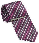 Gold Series Multi Stripe Tie with Enamel Tie Bar Casual Male XL Big & Tall