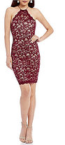 Sequin Hearts Two-Tone Sequin Lace Sheath Dress