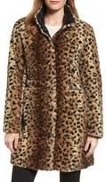 Via Spiga Women's Reversible Faux Leopard Fur Coat
