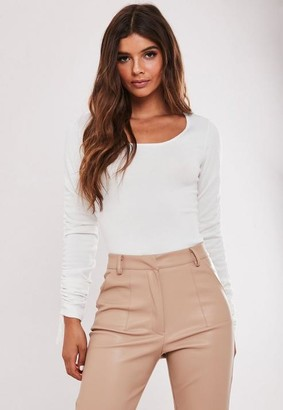 Missguided White Ruched Sleeve Knit Bodysuit