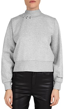 The Kooples Pierced Fleece Sweatshirt