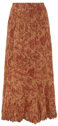 Mes Demoiselles Jouvencelle Floral-print Pleated Cotton Midi Skirt - Brown Print