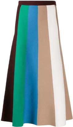 Victoria Victoria Beckham Striped Midi Skirt