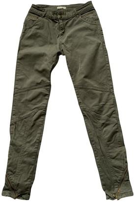 Whistles Khaki Cotton Trousers for Women