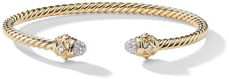 David Yurman 18kt yellow gold Renaissance diamond 3mm cuff
