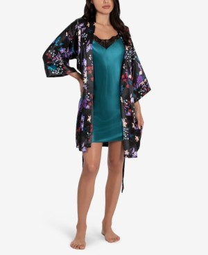 Linea Donatella Linea Dontella 2-Pc. Charmed Charmeuse Printed Wrap Robe & Solid Chemise Nightgown Set