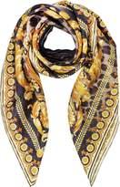 Versace Beige Wild Baroque Print Silk Square Scarf