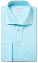 Richard James Blue Cutaway-Collar Cotton-Poplin Shirt