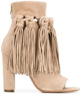 Chloé fringed open toe booties - women - Leather/Suede - 39